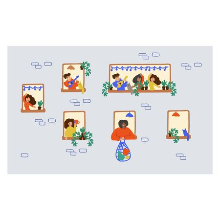 Hand-drawn doodle people in the window. Vector illustration showing family and neighbors are at home in the window. Enjoy being at home, home comfort. Leader at home. Household chores and hobbies