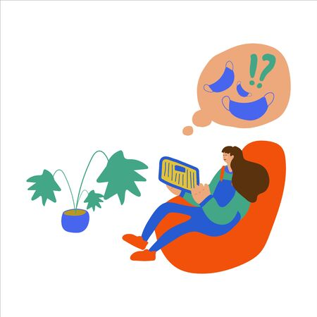 Vector illustration of a girl sitting who reads a newspaper or news on a tablet. Events related to news and global events. Hand-drawn images