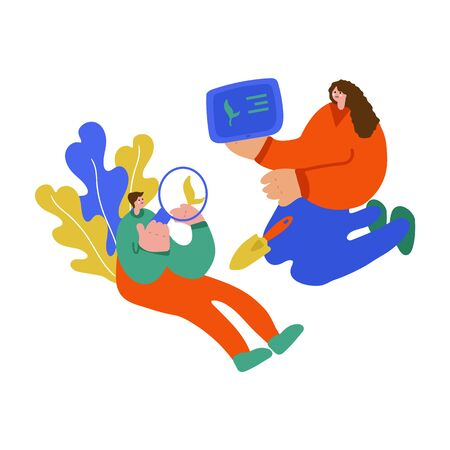 Illustration of a family teaching children. Freehand drawing illustrating the learning process of plant growing. Family drawing, mother and son spending time together, teaching son