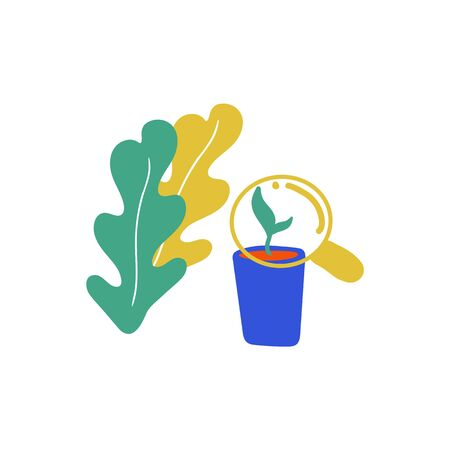 Illustration of a garden, shovel, plants, flowers. Vector minimal illustration in scandinavian style. Demonstration of things for planting plants