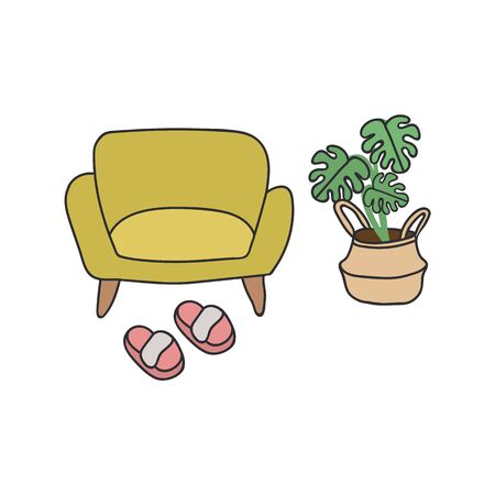 Illustration of a sofa. Stylish illustration of the interior in the Scandinavian style. Items at home are a sofa, a palm tree in a wicker pot, and pink Slippers. Beautiful poster of a cozy home. Stay at home