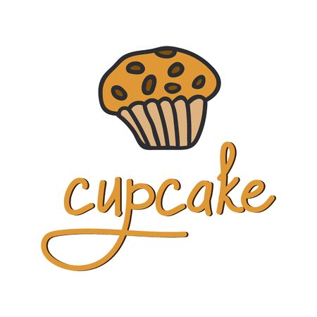 Hand lettering cupcake with illustration. Perfect for a poster or company logo