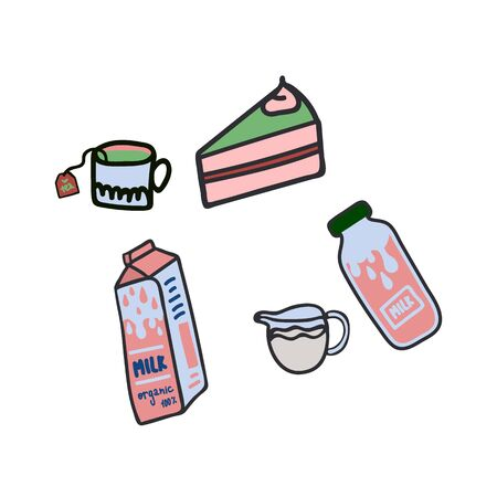 Set of illustrations of drinks and food. Illustration for the kitchen demonstration of a Cup of tea, milk in different containers with the inscription, cake 向量圖像