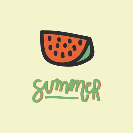 Handwritten lettering with an illustration. Illustration of a watermelon with the inscription summer. perfect for a poster or t-shirt design. The mood is summer 向量圖像