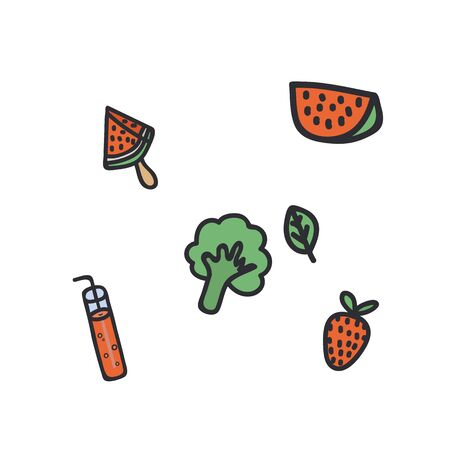 A set of flat drawn summer illustrations. Design elements for food, accessories, and beverages. Color cliparts for spending time in nature, the beach. Isolated Scandinavian summer cartoon elements