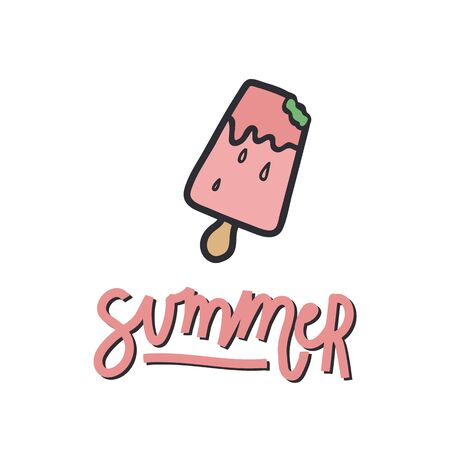 Handwritten lettering with an illustration. Illustration of ice cream on a stick with the inscription summer. Perfect for a poster or t-shirt design. The mood is summer