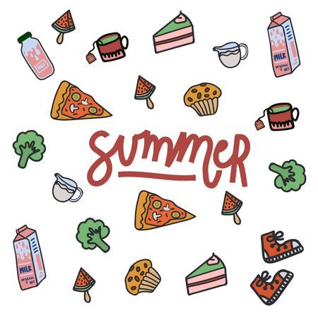 A set of flat drawn summer illustrations. Background texture with design elements for food, accessories, and beverages. Color cliparts for spending time in nature, the beach. Handwritten lettering summer. Isolated Scandinavian summer cartoon elements