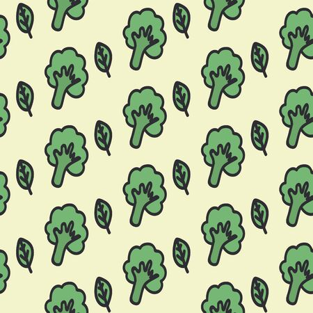Food background, broccoli and greens. Vegan food texture is hand drawn