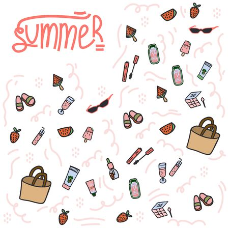 The background of flat hand-drawn illustrations is summer. Background texture with design elements for food, accessories, and beverages. Color cliparts for spending time in nature, the beach. Sketch of the summer. Isolated Scandinavian summer cartoon elements