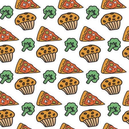 The background of the food. Food texture is drawn by hand. Background drawing of pizza, cupcake and broccoli. Beautiful food in cartoon style. A multi-colored illustration shows delicious food Ilustração