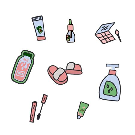 A set of flat hand-drawn illustrations of cosmetics and creams. Elements of self-care design. Color cliparts for spending time on self-care. Love yourself. Isolated Scandinavian means of self-care elements of the cartoon