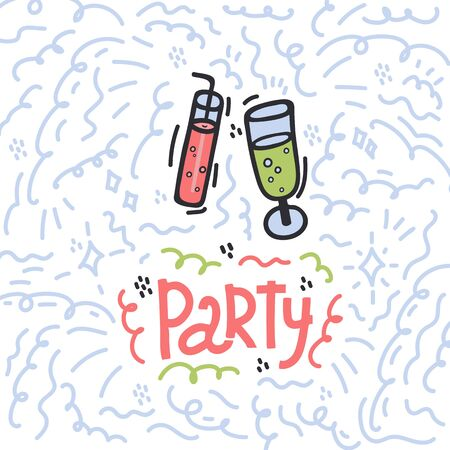 The inscription of the Party in the circle Doodle background. Inscription with an Illustration of glasses and drinks with gas and a tube. Beautiful cartoon background drawn by hand. A great poster for a party
