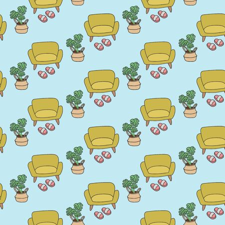 Background illustration of a sofa with planters. Interior in Scandinavian style texture drawn by hand. Beautiful cartoon background of the interior