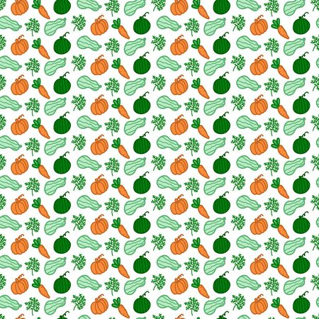 Food background, vegetables and greens. The texture of vegan food is drawn by hand. Zucchini, pumpkin, carrots, watermelon and greens in the form of vegetables in the photo Ilustração