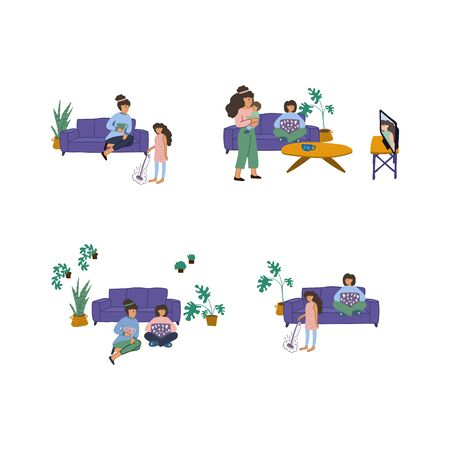 Hand-drawn set of illustrations, teach your daughter household chores. A set of people in a home environment to do things at home. Home schooling. Sit at home. Vector illustration. Vector illustration