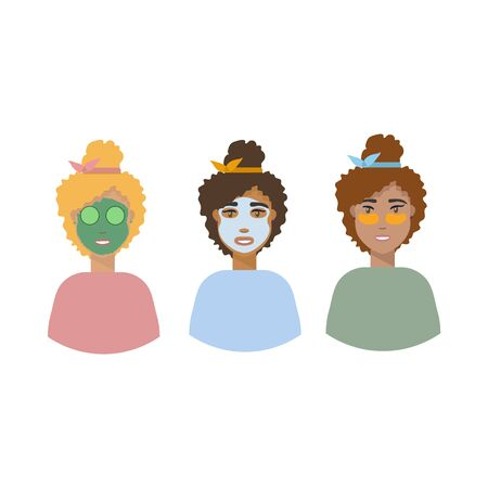 Background vector illustration, personal hygiene. Girls with masks on their faces. Girls demonstrate a green face mask, a fabric face mask and patches. Hand-drawn illustrations set of girls taking care of themselves. Love yourself, take care of yourself