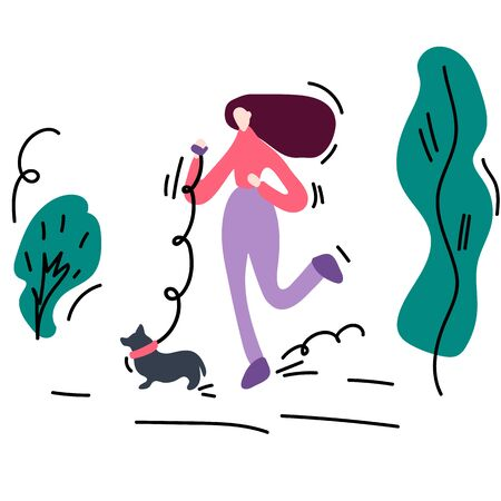 Hand-drawn illustration of a woman on a run with a dog. Spending time in the fresh air, Pets, walking. In a circle of leaves and trees. Healthy lifestyle