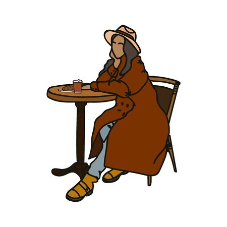 Hand-drawn illustration of a girl sitting at a table, in clothes. The concept of support for small businesses and a poster of a coffee shop. Modern minimalist illustration, in the Scandinavian style