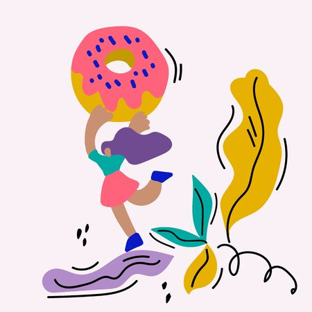 A hand-drawn concept illustration of a woman holding a giant doughnut with icing. In a circle of leaves and trees. Poster bakery illustration with food. 向量圖像