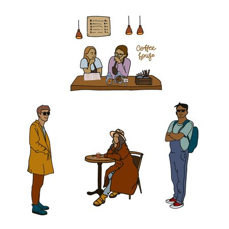 A set of hand-drawn illustrations for cafes. Girls work in a cafe. Vector illustration of coffee makers, cookie jars, menus, lamps. A girl is sitting at a table, guys in clothes. The concept of support of small business and the poster for the coffee shop. 向量圖像