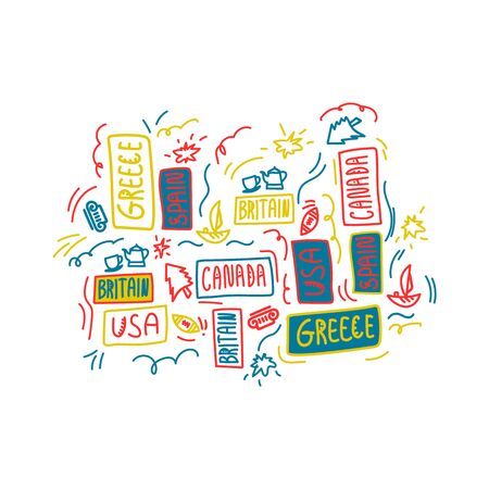 Hand-drawn lettering as a background. Countries of the world: USA, Canada, Germany, Spain, Britain, Greece. Illustration of the inscription, in the Scandinavian ethnic style, with illustrations. Multicolored country background for travel agencies and bloggers. Different countries in the same illustration