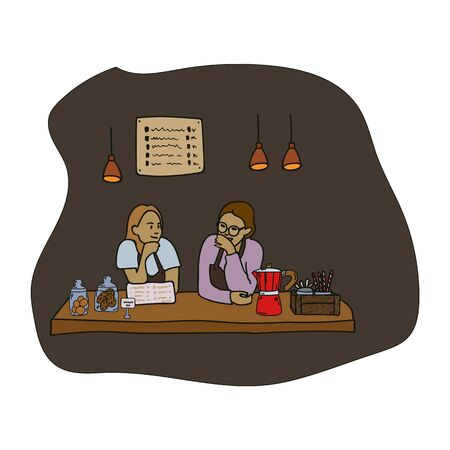 Hand-drawn illustration of women working in a cafe. They talk and laugh. Vector illustration of coffee maker, cookie jar, menu, lamps. The concept of support for small businesses and a poster of a coffee shop.
