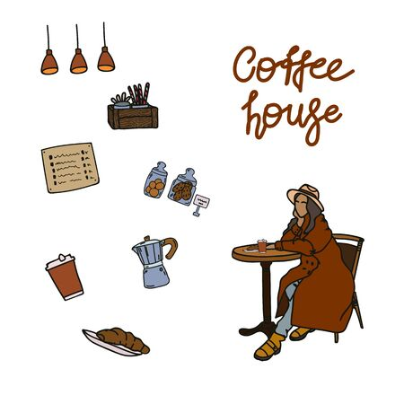 A set of hand-drawn illustrations for cafes. The girl is sitting at a cafe table. Vector illustration of coffee makers, cookie jars, menus, lamps. The concept of support of small business and the poster for the coffee shop.