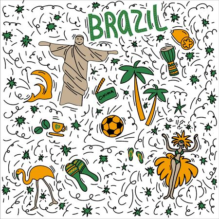 Hand-drawn symbols of Brazil with lettering. Doodle style illustration, Christ Statue, Carnival symbol, Pink Flamingo, maracas fruit, Pandeiro drum, football symbols. Multicolored background of objects symbolizing Brazil
