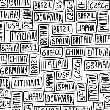 Hand-drawn lettering as a background. Countries: USA, Russia, Czech Republic, China, Lithuania, Latvia, Japan, Germany, Spain, Britain, Italy, Poland, Brazil, Greece. Illustration of the inscription, in the Scandinavian ethnic style, background for travel agencies and bloggers. Different countries in the same illustration 向量圖像