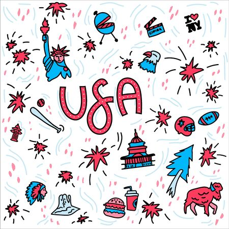 Hand-drawn symbols of the United States with lettering. Doodle style illustration, Statue of liberty, White house, Grand Canyon, barbecue, food, baseball symbols, socker symbols. Multicolored background of items symbolizing the United States