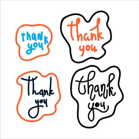 A set of hand-drawn illustrations with a thank you note. Thank you