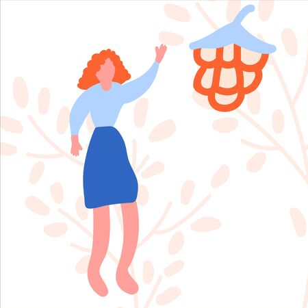 An illustration drawn by the hand of a woman harvests. Girl with a berry in a circle of abstract symbols. Foliage, autumn, harvest. Summer ripe berries 向量圖像