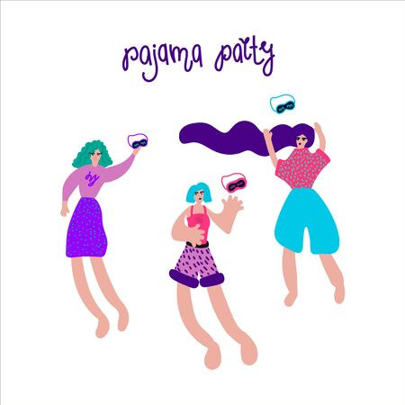 An illustration drawn by hand of a woman in pajamas. Girls at a pajama party in a circle of abstract symbols. Flyer, poster, pajamas, sleep band