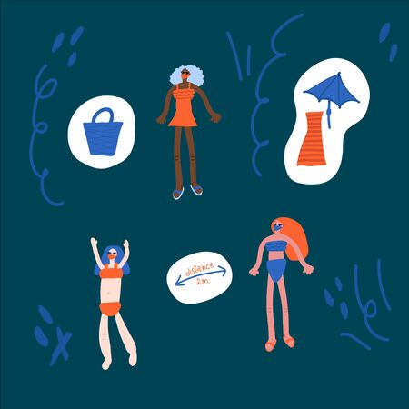 Hand-drawn illustration of people on the beach, in accordance with the requirement during the coronavirus pandemic and after the lifting of some restrictions. People in masks and swimsuits on the beach. Fashionable girls on the beach. Social distance and mask mode Illustration