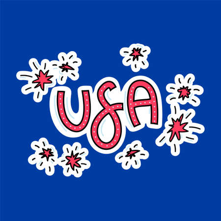Hand-drawn symbols of the United States with lettering. Doodle style illustration. Multicolored background of items symbolizing the United States