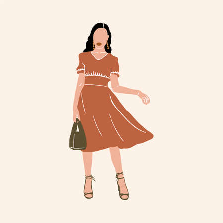 Illustration of a girl drawn by hand in a fashionable style. Woman clothing, fashion clothing. The portrait is made in a pleasant green color scheme, inspired by African motifs. Fashion girls are drawn to the background of a textile or panel. Beautiful and cute animals. Vector illustration