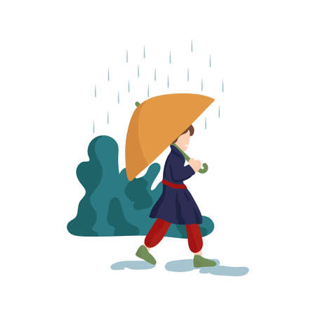 Illustration of a guy walking in the rain. The image shows a weather phenomenon, a man walking in the rain with a yellow umbrella. A man walking in rainy weather. The illustration shows the human condition in weather conditions. Vector illustration Illustration