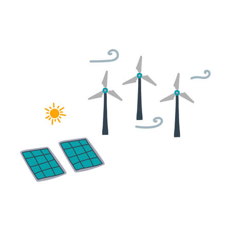 Illustration of windmills and a house on a hill. The image shows alternative energy sources. Nature, hills, grass and trees, renewable energy sources in a quiet corner far from the city. Vector illustration