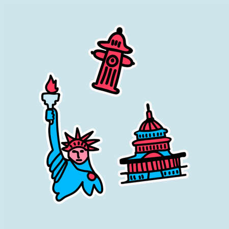 A set of stickers for attractions in the United States. The set includes the whitest house, a fire hydrant, and the famous statue of Liberty with a torch. Illustrations are made in multicolour color, the main colors are blue and red. Beautiful us stickers. Vector illustration 向量圖像