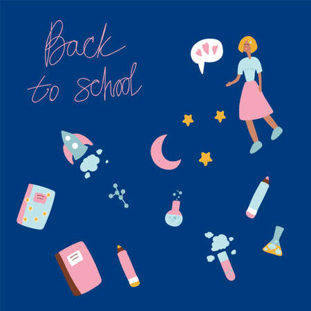 Set of illustrations Back to school. Ready made characters and details for school subjects: notebooks, pens, pencils, a girl, cute characters in a cartoon style. Vector illustration