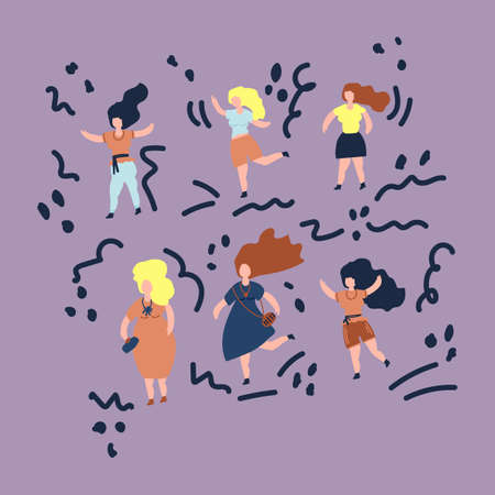 The concept of body positivity all bodies are good bodies. Vector illustration a group of plus size women. Illustration of girls drawn by hand to support women. Vector illustration Vectores