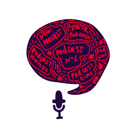The media, a microphone and a speech bubble icon doodles. Sound recording device, media equipment hand-drawn vector illustration. Microphone, broadcast media color drawing isolated on a white background. The inscription is a podcast written by hand. Vector illustration