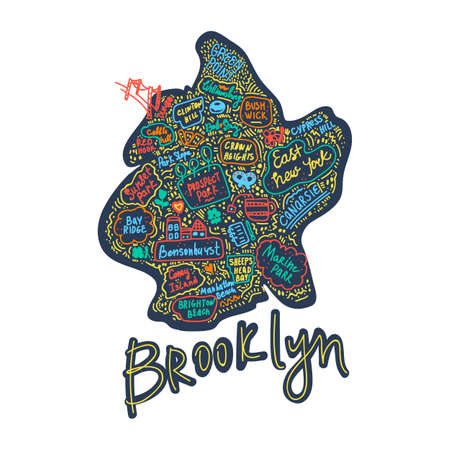 Map of Brooklyn new York USA flat drawn vector illustration. American States city, district, name inscriptions and cartoon attractions, tourist attractions clipart. Us trips, travel poster comics, infographics, banner design concepts. Vector illustration