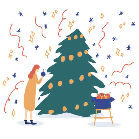 Winter scene with a girl and a Christmas tree.Christmas scene with the image of a tree. Vector illustration in flat style. Walk in the winter, play with children on winter holidays. Vector illustration 向量圖像