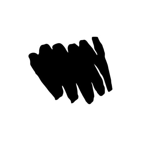 Abstract wave hand-painted. In black, hand-drawn with a brush. Line with a brush or pen. Vector illustration