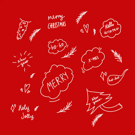 Christmas collection of design elements on a red background.  イラスト・ベクター素材