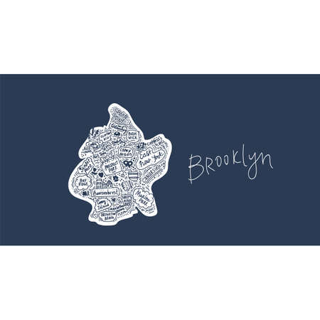 Map of Brooklyn new York USA flat hand-drawn illustration. American attractions States, city, district, name cartoon inscriptions, tourist places clipart. Travel to the USA, travel poster comics drawn in the Doodle style. Illustration