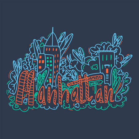 Vector lettering of Manhattan new York USA. Flat hand-drawn illustration on a dark background in cartoon style. Attractions in the United States States, cities, districts, tourist places clipart hand-drawn. The name is drawn in a cartoon Doodle style. Travel and tourism poster for the city of new York. Vector illustration Ilustração