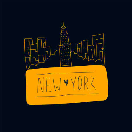 Vector new York lettering with illustration. Names of a city in the United States, new York, drawn by hand, with landmarks on a dark background. Vector banner for fans of new York in the States. Vector illustration