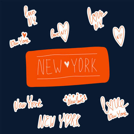 Set of stickers with lettering Love new York. NY city hand-drawn on a dark background. Vector set for lovers in new York city in the USA. Vector illustration